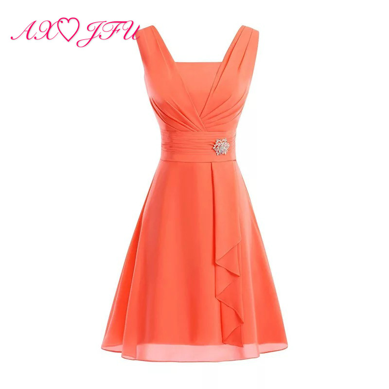 AXJFU Orange Color Chiffon Bridesmaid Dresses Sky Blue Sleeveless Beach Chiffon Sweetheart Crystal Red Chiffon Bridesmaid Dress(China)