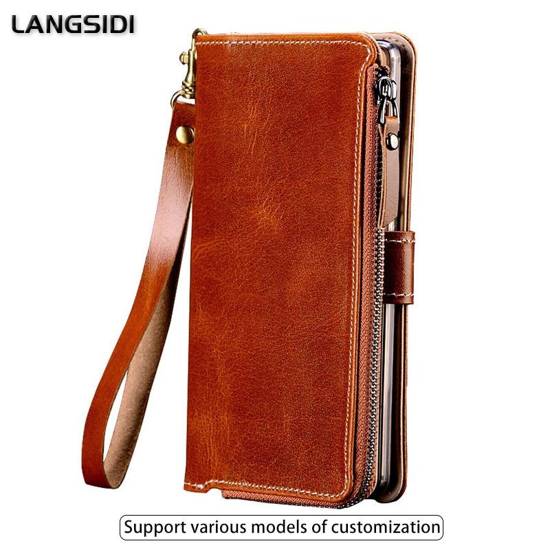 Multi functional Zipper Genuine Leather Case For LG K10 V30 V40 V50 G6 G7 Wallet Stand Holder Silicone Protect Phone Bag Cover