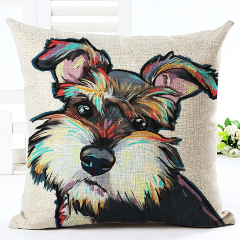 Square Cotton Linen colourfu Bull Terrier Painted Bull dog dachshund 3D Cheap Cushion Cover For Home Sofa Pillow Case Cojines in Cushion Cover from Home Garden
