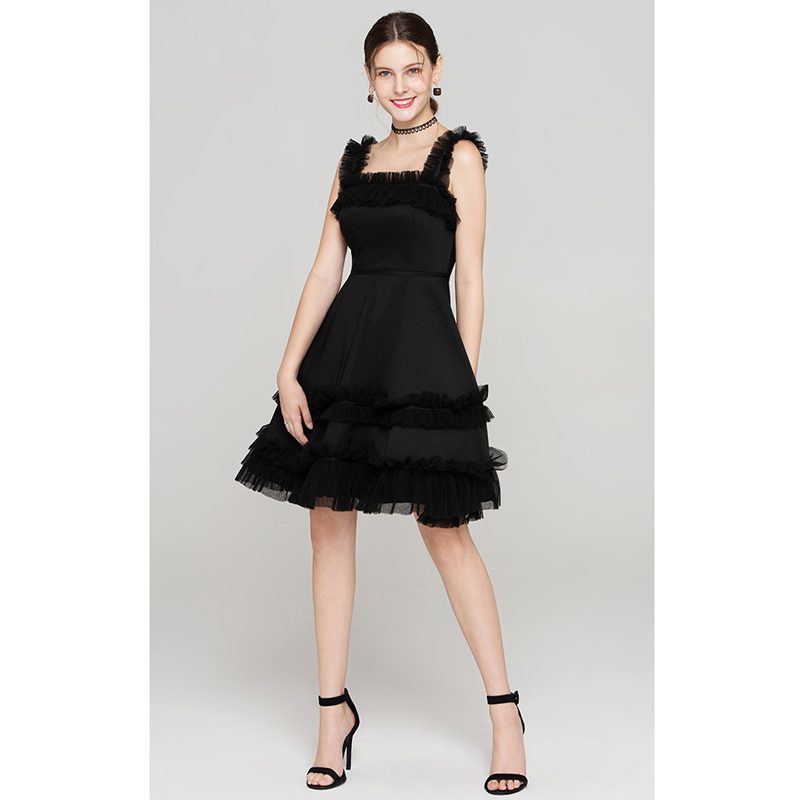tulle ruffle shoulder straps open back sleeveless fit and flare sexy short dress black summer dress