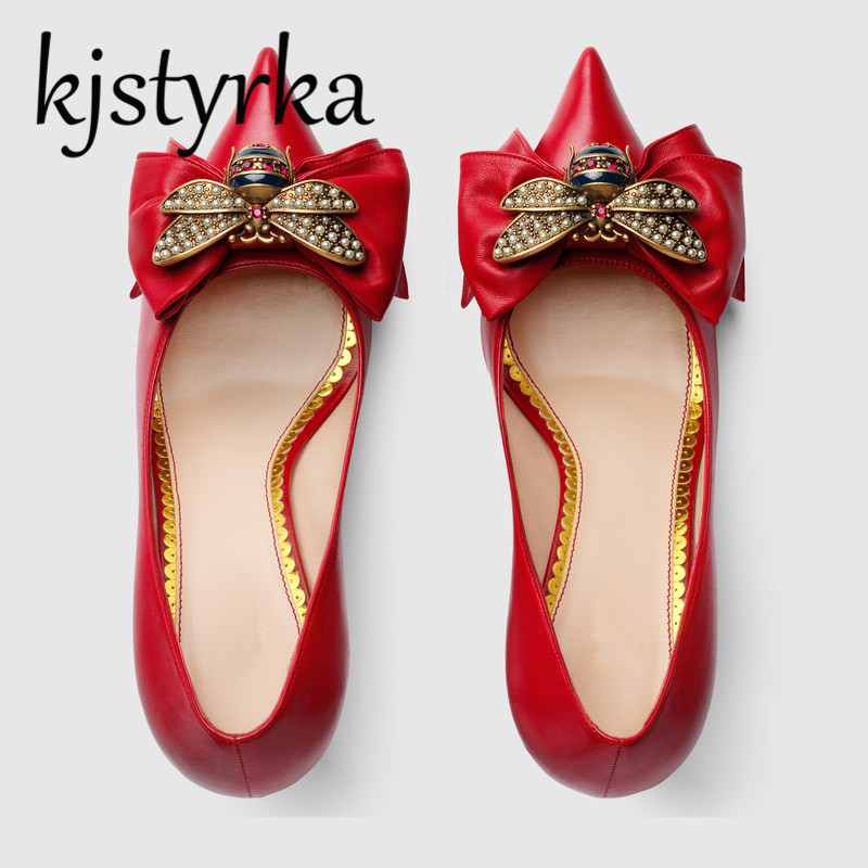Kjstyrka 2018 New High Heels Shoes Women Pumps Stiletto Thin Heel Pointed Toe Bowtie Bee Matal Decoration Zapatos Shallow Dress zapatos mujer pointed toe thin high heels sandals mixed color single shoes woman stiletto dress women pumps 2018