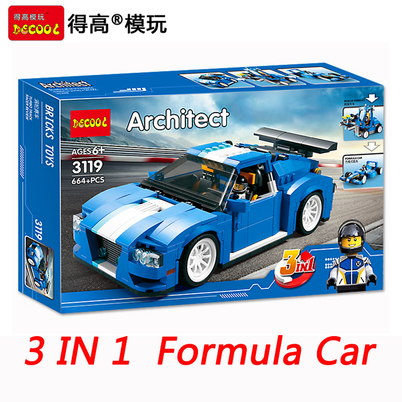 Decool Technic Creator 3 In 1 Turbo Track Racer Resume Forklift  Formula Car  City Building Blocks Sets Bricks Toys Decool 2017 decool 3117 city creator 3 in 1 vacation getaways model building blocks enlighten diy figure toys for children compatible legoe