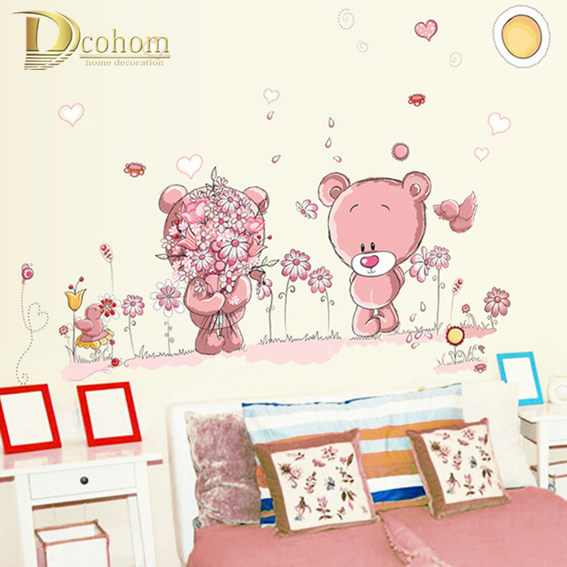 Cute Lovely Pink Bear Nursery Vinyl Kindergarten Nursery Girl Kids Baby Child Room Home Decor Mural DIY Wall Stickers Decal