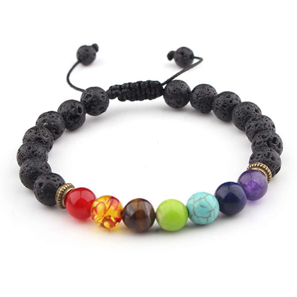 Newst 7 Chakra Bracelet Men Black Lava Healing Balance Beads Reiki Buddha Prayer Natural Stone Yoga Bracelet For Women