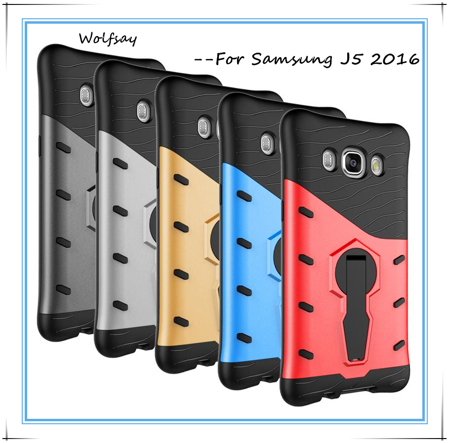 Wolfsay For Samsung Galaxy J5 2016 Case J510 Shockproof Armor Silicone Rubber Cover Kickstand Phone Case For Samsung J5 2016 #