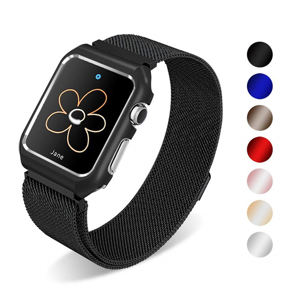 Case+milanese loop strap for apple watch band 44mm 40mm iwatch series 4 3 2 1 42mm 38mm stainless steel wristband link bracelet crested milanese loop strap for apple watch band 42mm 38mm stainless steel link bracelet wristband for iwatch 3 2 1 with case