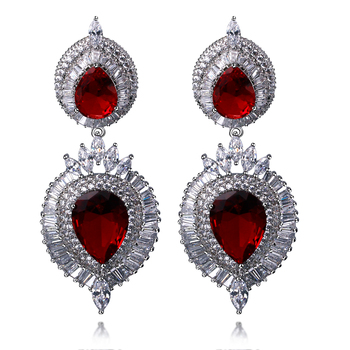 GrandLuxury Wedding Earrings Setting with Cubic Zirconia  Handmade jewelry Big Drop  Earrings Allergy Free