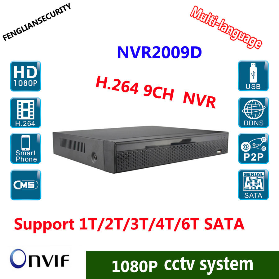 9CH NVR Professional Motion Detection 720P/960P/1080P IP Camera Recorder With P2P/ONVIF/HDMI H.264 CCTV NVR System salomon motion 9 ti