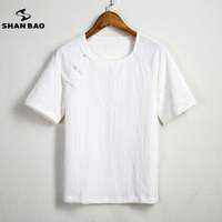 SHAN BAO brand high quality flax short sleeve t shirt men 2017 summer Chinese style t shirt white khaki green large size M 4XL