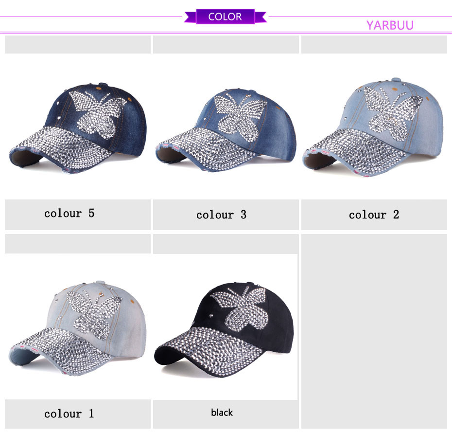 e0dfc81523 [YARBUU]Beauty caps new design popular women rhinestone denim baseball cap  fashion brand woman jean crystal hip hop snapback hat