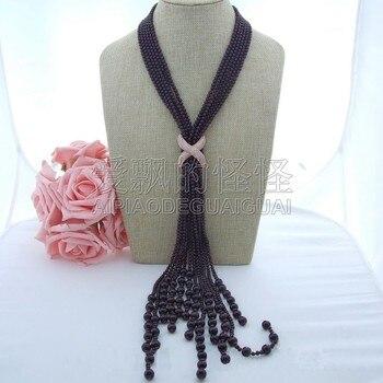"N072003 37"" 6 Strands Round Garnet Long Necklace CZ Pendant"