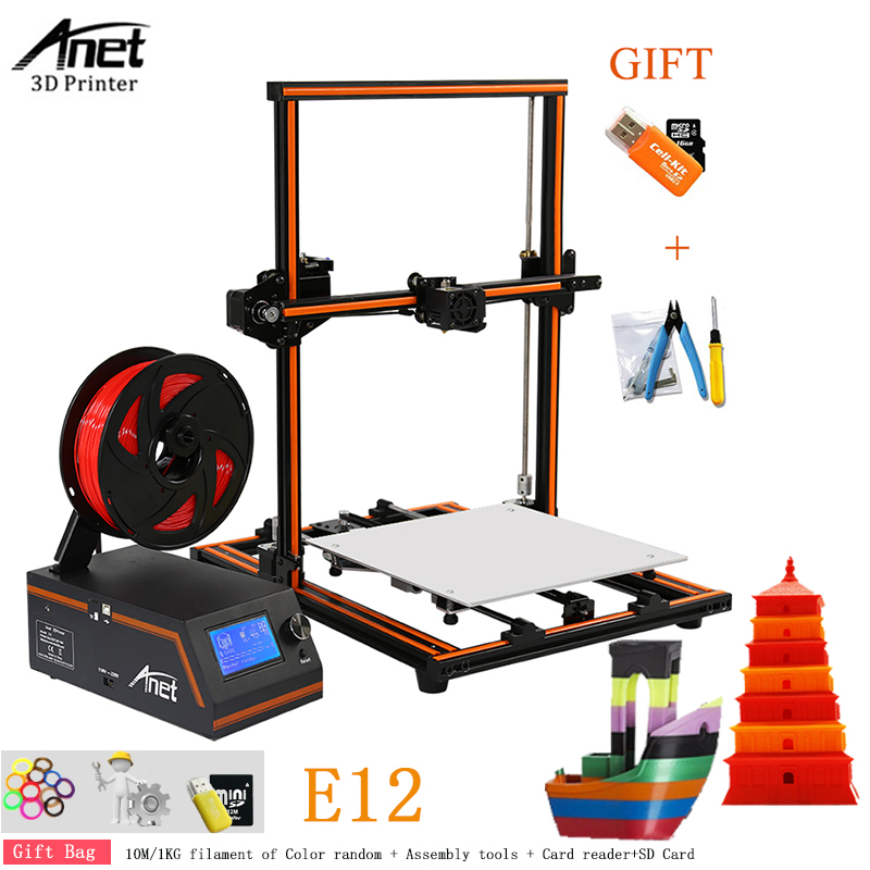 Update Threaded Rod High Precision Anet E12 E10 A8 A6 3d Printer DIY Reprap 3d Printer Kit Large Print Size 10M / 1KG Filament anet e12 3d printer large printing size high precision update threaded rod reprap i3 3d 3d printer kit with pla abs filament