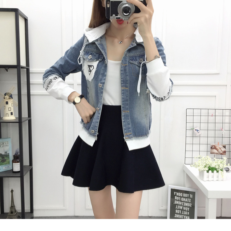 New Autumn Casual Hooded Short Denim Jacket Women Fashion Splicing Patch Coat Plus size Pockets Loose Jackets Jeans Coat Female 51