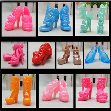 Randomly Picked 10 Pairs Colorful Assorted Fashion Colorful Doll Shoes Heels Sandals For Dolls Accessories Outfit Dress(China)