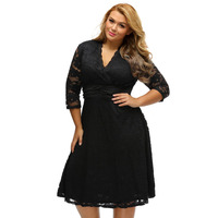 Fashion A Line Solid Spring Dress Black Gold Scallop V Neck Long Sleeve Lace Vintage