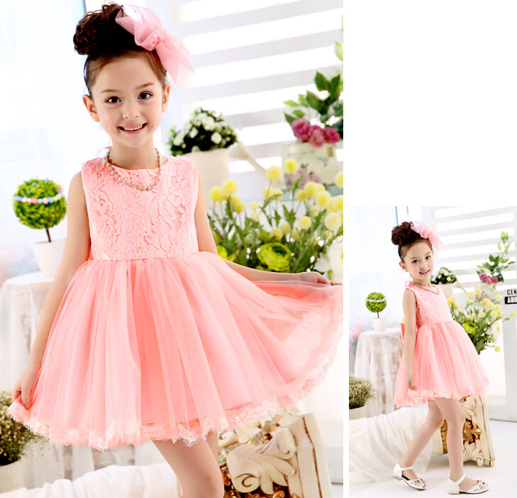 Elegant Girl Dress Girls 2017 Fashion Girl Pink Lace Big Bow Party Tulle Flower Princess Wedding Dresses Baby Girl Dress 2-7 Y