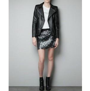 Women Black Rivet Brand Faux Soft Leather Jackets Pu Black Blazer
