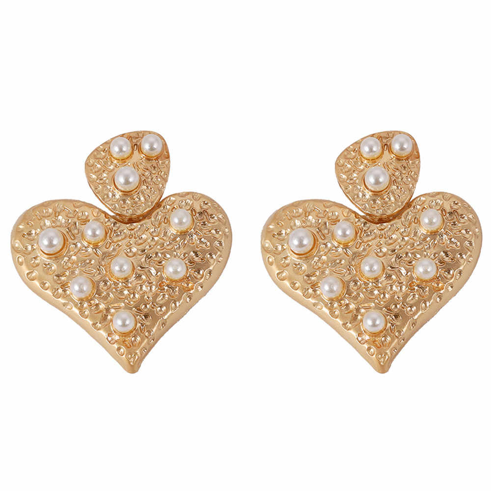 Girlgo Za VINTAGE โลหะดอกไม้ Dangle ต่างหูหัวใจสีทองต่างหูหญิง Boho Brincos เครื่องประดับงานแต่งงาน