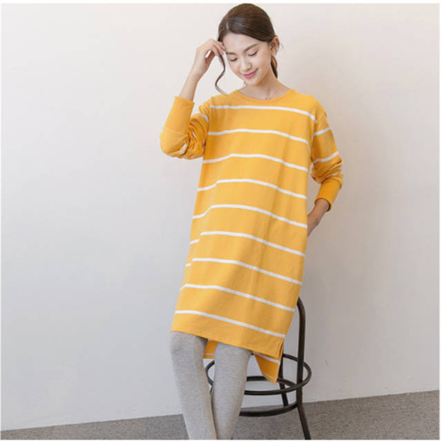 fd9e3e6e6d2 Online Shop Maternity Clothing Casual Women Clothes Striped Maternity Dress  Long Sleeve Pregnant Women Yellow Dress Hamile Elbisesi 70R0189