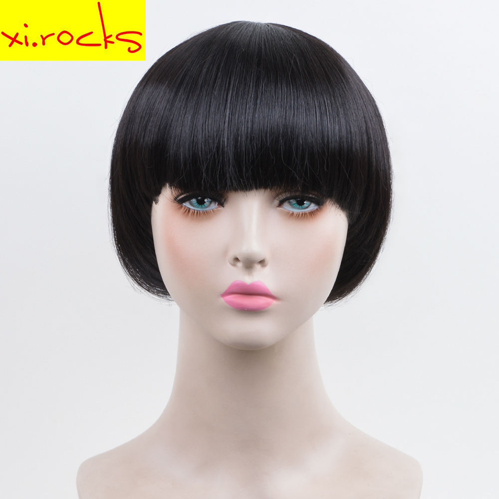 Xi.rocks 30CM Black Short Straight Synthetic Bob Wig High Temperture Fiber Synthetic Hair Wigs Cosplay and Party wig