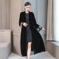 2018 elegant embroidered cardigan large size windbreaker jacket female thicken velvet warm temperament black long cardigans