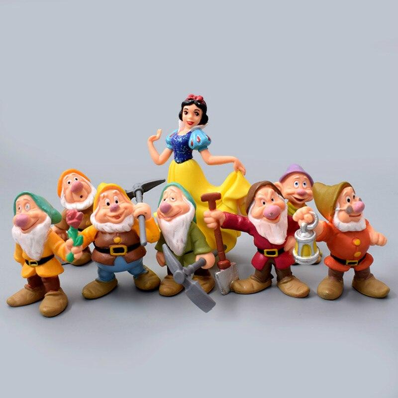 Disney 8 pçs/set 6-10cm neve branca e os sete anões figura de ação brinquedos princesa pvc bonecas coleção brinquedos para o presente das crianças