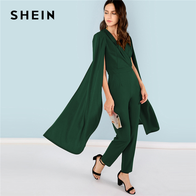 3addbdcf72e SHEIN Green Highstreet Office Lady Cape Sleeve Surplice Wrap Tailored  Workwear Jumpsuit Summer Women Party Elegant