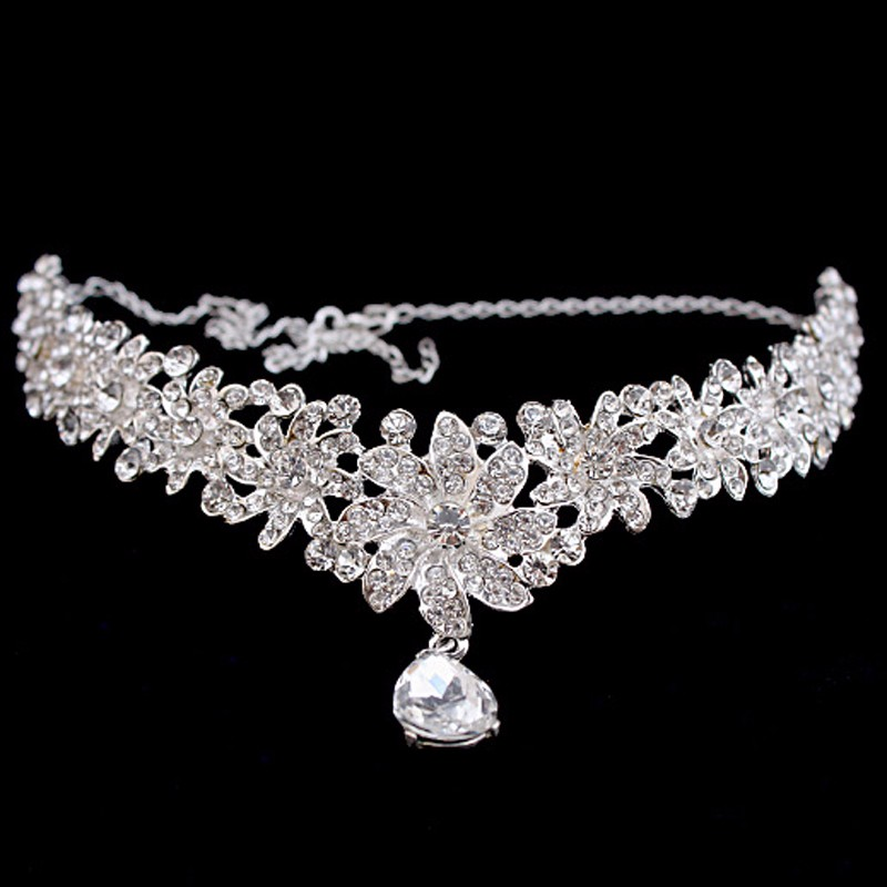 Sparkly Crystal Leaves Women Forehead Headband Head Chain Headpiece  Rhinestone Teardrop Tiara Bridal Wedding Hair Jewelry c2e1aeecb34e