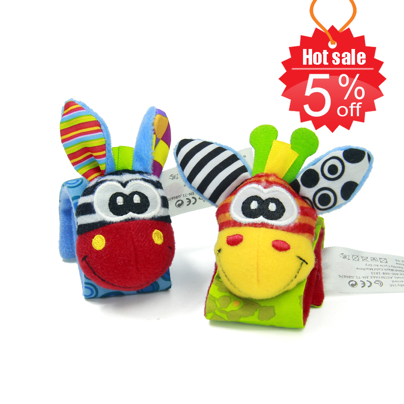 Sozzy-2pcs-Soft-Baby-Toy-Wrist-Strap-Socks-Cute-Cartoon-Garden-Bug-Plush-Rattle-with-Ring-Bell-0M-2