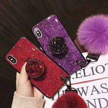 Diamond Glitter Bracket+Hair ball+Lanyard Case For Samsung S8 9plus S8 9 Note8 9 For iPhone X XR XS MAX 6s 7 8plus fur ball case(China)