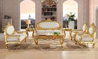 Royal Antique Gold Gliding Carved Leather Sofa Set Living Room Sectional Baroque Sofa