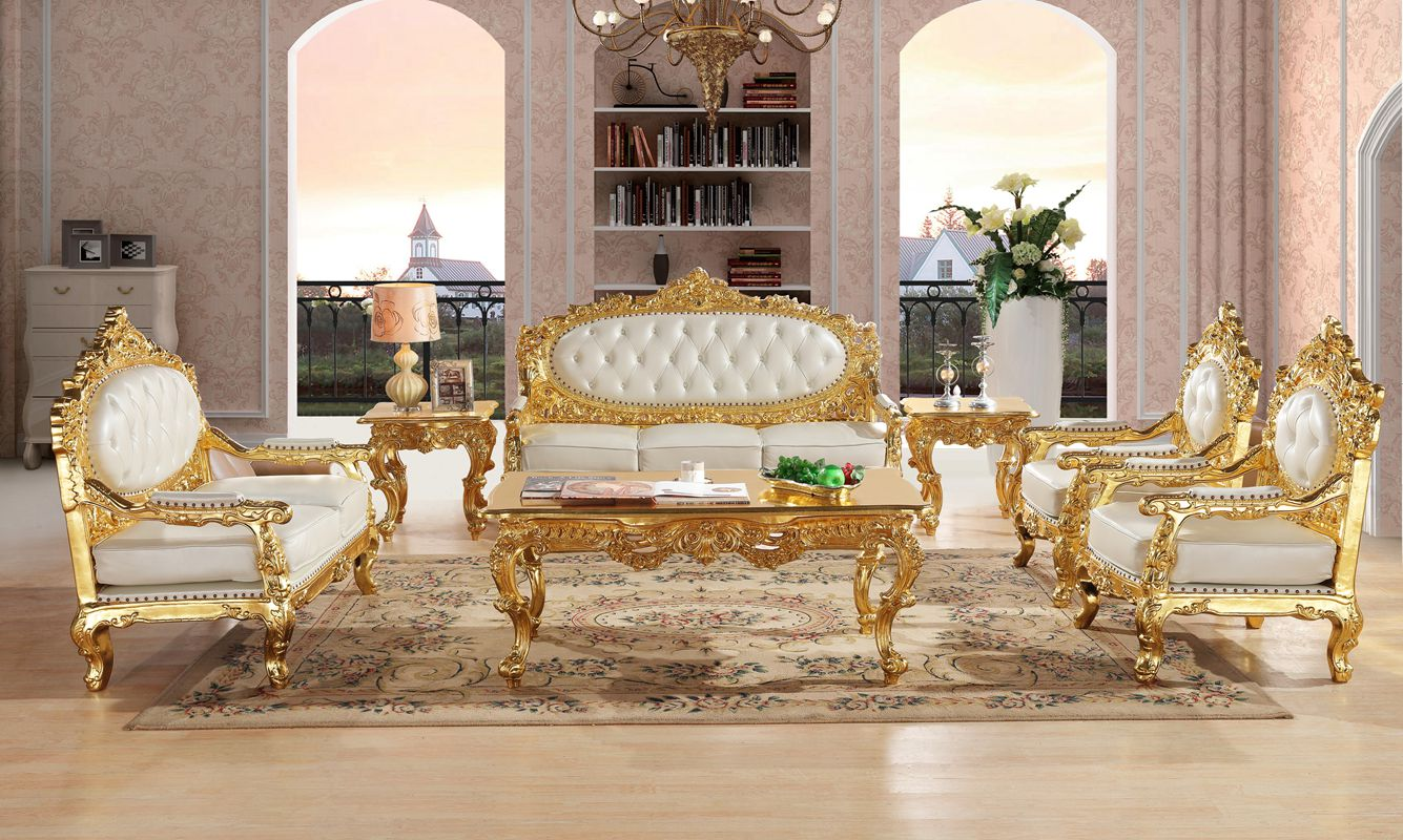 Royal Antique Gold Gliding Carved Leather Sofa Set Living Room Sectional Baroque Sofa|Living Room Sofas|Furniture - title=