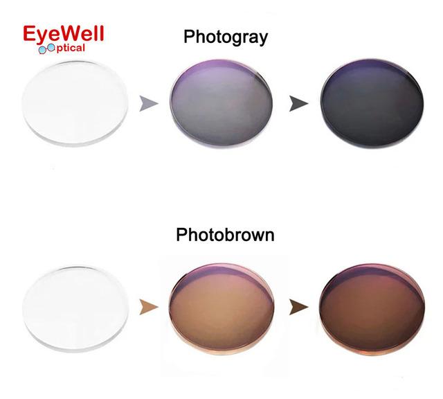 1.56 Transición Photochromic Gafas de Lentes Para Miopía Óptica gafas de Sol lentes de visión Sencilla foto gris o marrón fotos camaleón