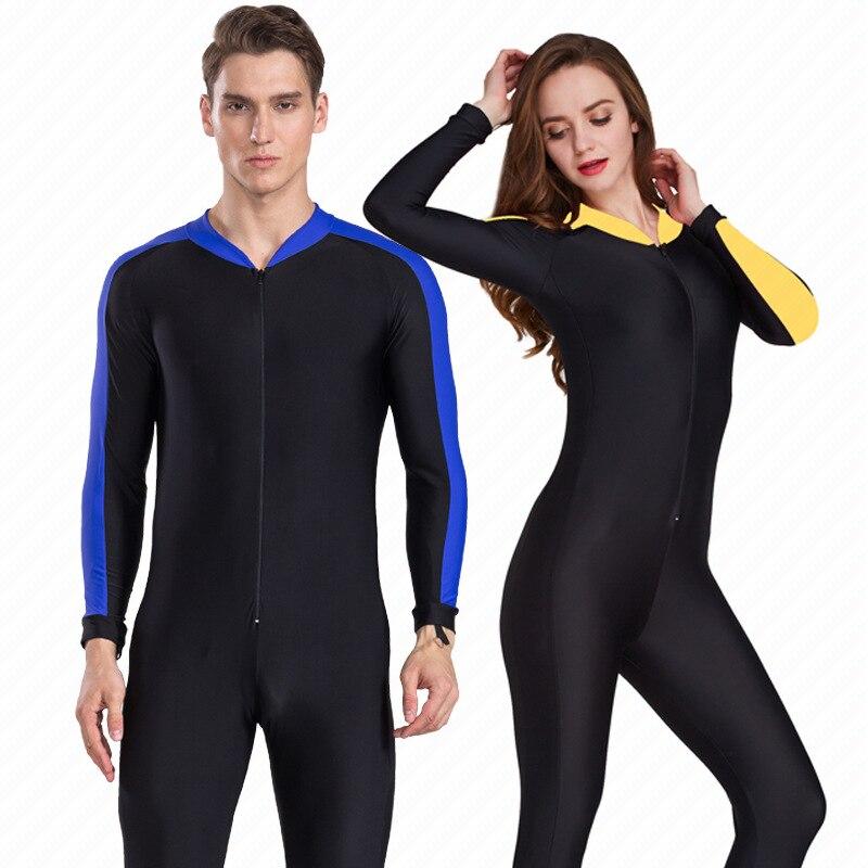Homens e Mulheres Anti-UV Proteção Solar Roupas de Mergulho Surf Natação  Mergulho Mergulho Maiô One-Piece Swimwear Manga Longa b6d150e2b2