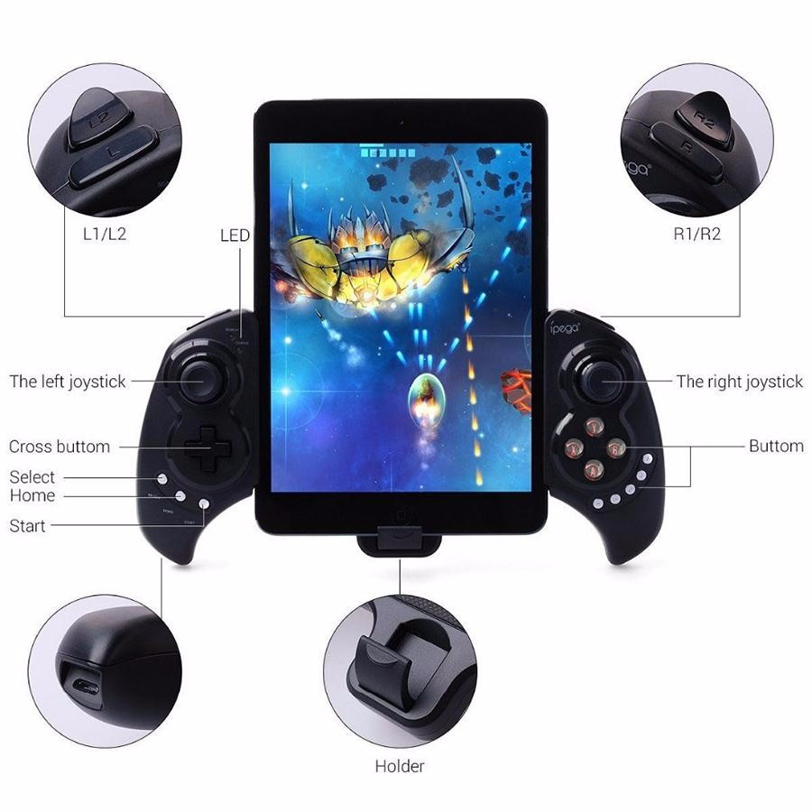 PG9023 Bluetooth Game Controller Gamepad For Smartphone iOS Android ipad PC Stretch Joystick with Stand Telescopic