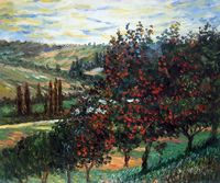 Apple Trees in Bloom at Vetheuil by Claude Monet, Painting Wall Arts for Living Room, Home Decor, Canvas Wall Painting