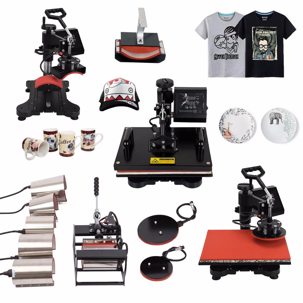 (Ship from USA) 10 in 1 Combo Heat Press Heater Transfer Machine Sublimation Heat Press for T-Shirt Cap Mug Plate Phone Case