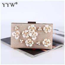 Floral Evening Bags Wedding Clutch Bags With Pearl Chain Party Bags For Ladies 2019 New Fashion Diamonds Clutches And Purse black glitter clutch bags with chain