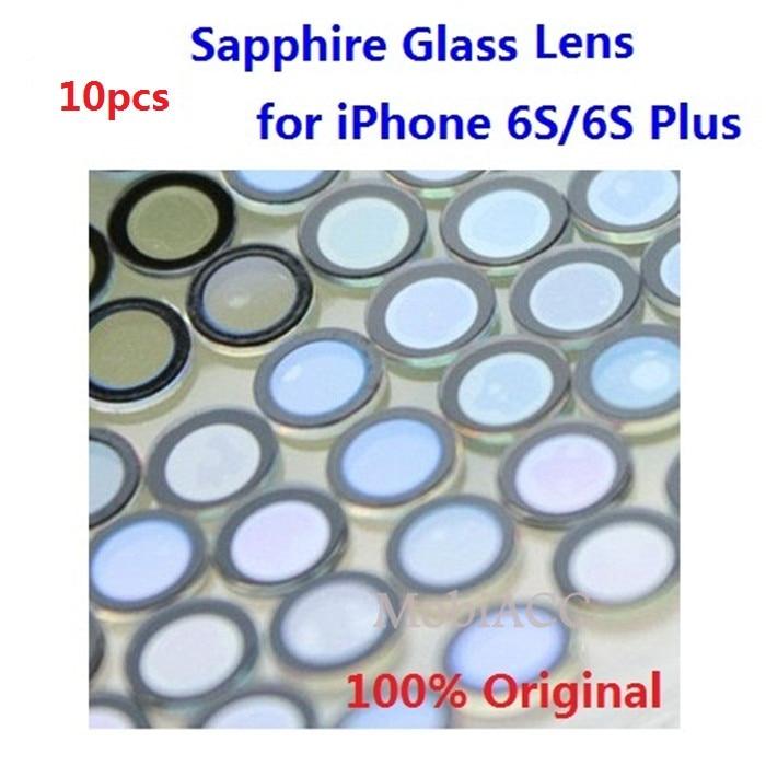 imágenes para 10 unids/lote original para iphone 6 s/iphone 6 s plus lente de la cámara; cristal de zafiro de cristal único sin marco + 3 m etiqueta