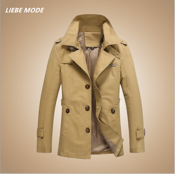 Pea Coat Style Fashion Spring Autumn Trench Coat Men Solid Slim Fit Men's Long Casual Jacket Trenchcoat Black Khaki Green M-5XL