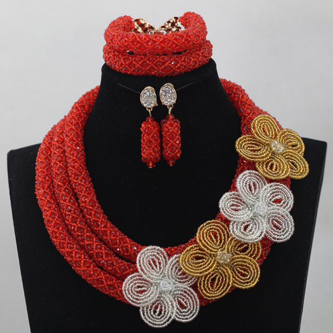 Flower Necklace Bridesmaid African Beads Jewelry Set Fashion Red Wedding Bridal Jewelry Sets for Women Free Shipping ABL684Flower Necklace Bridesmaid African Beads Jewelry Set Fashion Red Wedding Bridal Jewelry Sets for Women Free Shipping ABL684