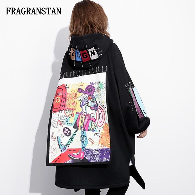 Autumn Winter Female Fashion Thicken Keep Warm Hooded Trench Coat Women New Letter Cartoon Pattern Patch