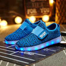Kids Light Shoes Children Led Shoes USB Charging Boys/Girls Illuminated Luminous SneakerS Breathable Fsshion Glowing Shoes(China)