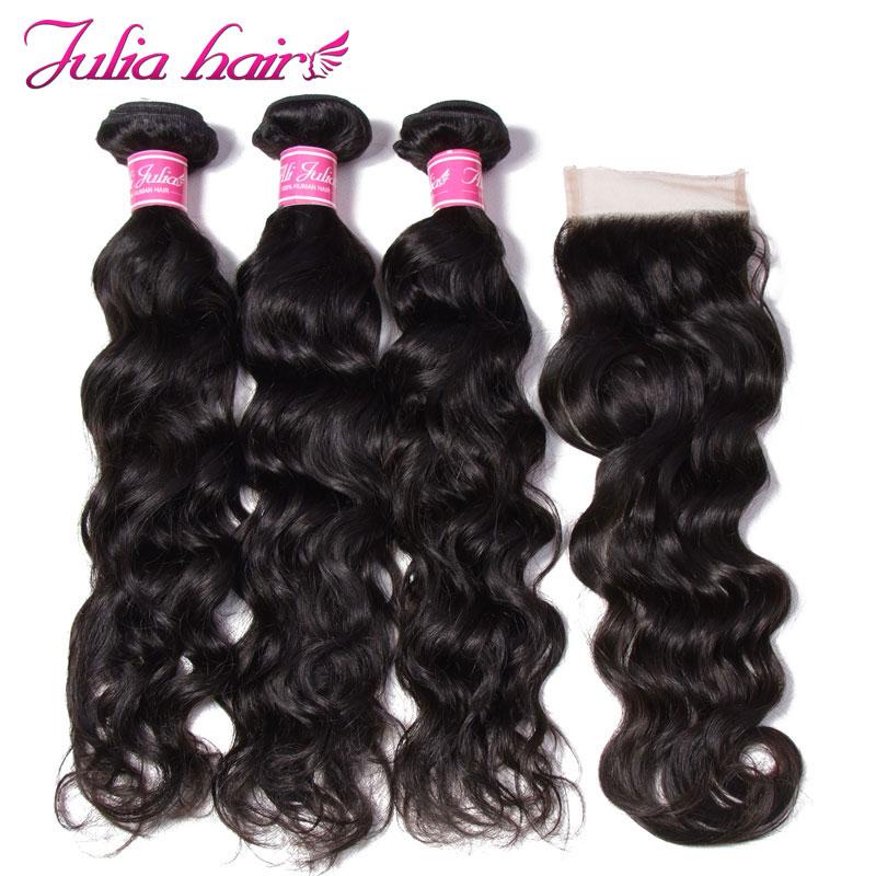 Ali Julia Hair Malaysian Natural Wave Human Hair Bundles With Closure Free Part 4 4 Lace