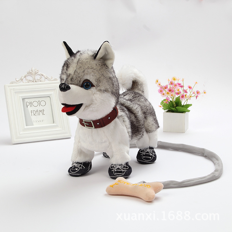 Electronic Music Dog Robot Teddy Interactive Dog Toys Electronic Plush Animal Pet Toy Walk Bark Leash Teddy Toys For Children hot sale short plush chew squeaky pet dog toy