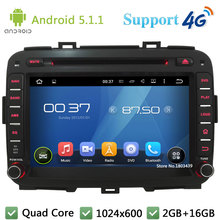 Quad Core 8 «1024*600 2DIN Android 5.1.1 Автомобильный Dvd-видео Плеер Радио Экран ПК BT FM DAB + 3 Г/4 Г WI-FI GPS Map Для KIA Carens 2013