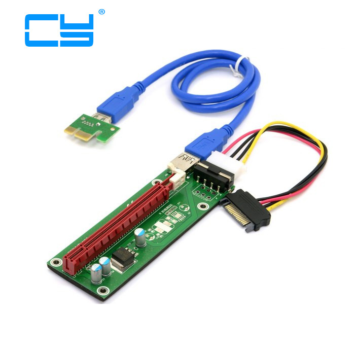 1 set PCI-E PCI Express Riser Card 1x to 16x USB 3.0 Data Cable SATA to 4Pin IDE Molex Power Supply for BTC Miner Machine RIG