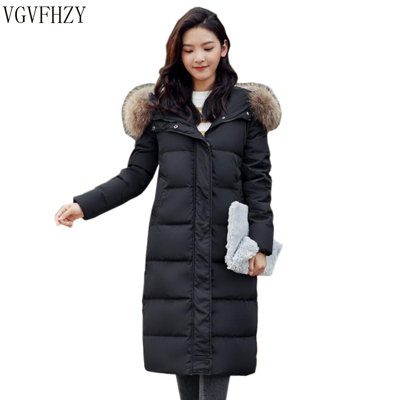Women 2018 Winter 90% White Duck   Down     Coat   Hoodies true Raccoon fur collar Thick warm Female Fashion Jacket   Coats   Parkas Outwear