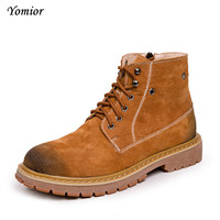 Yomior Men Boots Spring Winter Quality Fashion Ankle Boots Casual Mens Genuine Leather Botas Warm Shoes