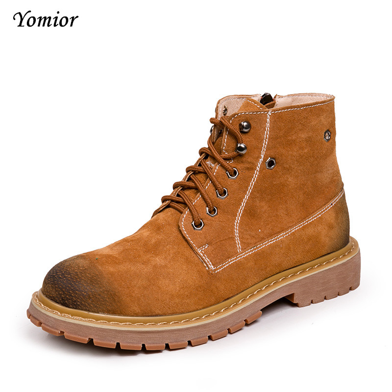 Yomior Men Boots Spring Winter Quality Fashion Ankle Boots Casual Mens Genuine Leather Botas Warm Shoes Work Tooling Boots serene handmade winter warm socks boots fashion british style leather retro tooling ankle men shoes size38 44 snow male footwear
